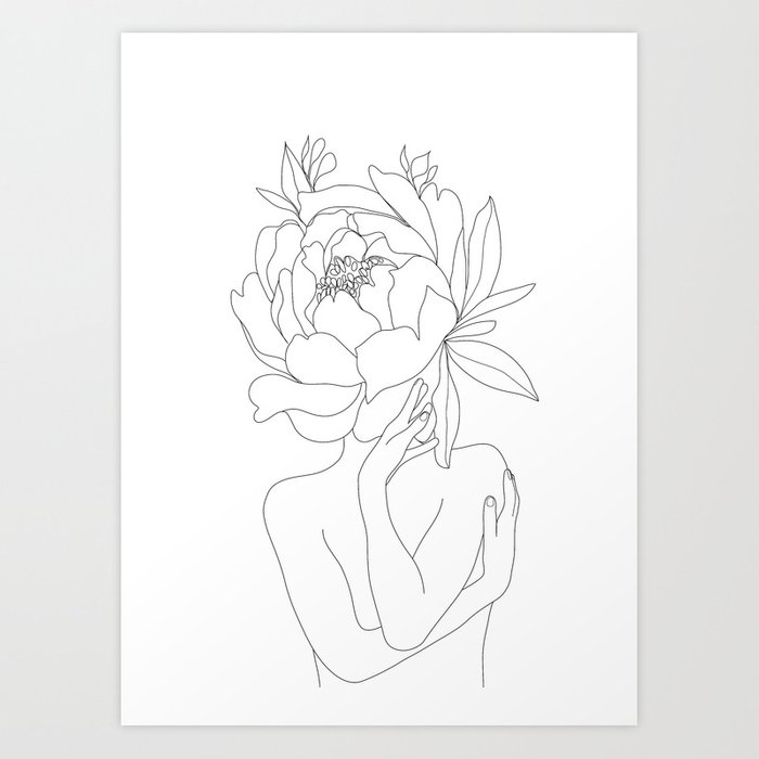Minimal Line Art Woman Flower Head Art Print By Nadja1