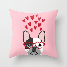 French Bulldog heart glasses valentines day dog breed pet gift frenchies Throw Pillow