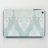 moroccan iPad Cases featuring Lace & Shadows - soft sage grey & white Moroccan doodle by micklyn