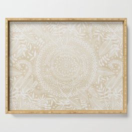 Medallion Pattern in Pale Tan Serving Tray