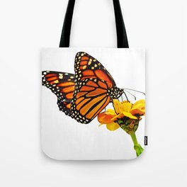 Monarch Butterfly on Zinnia Flower Tote Bag