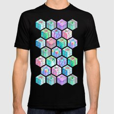 Christmas Gift Hexagons Black Mens Fitted Tee MEDIUM