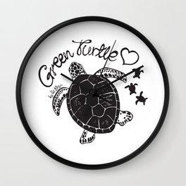 Green Turtle Love Wall Clock