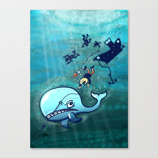 Whales are Furious! Canvas Print