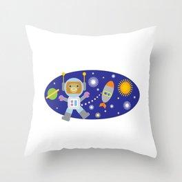 Space Chimp Astronaut Monkey Throw Pillow