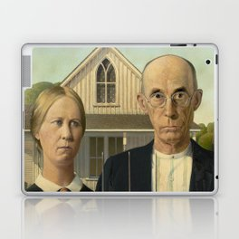 American Gothic Oil Painting by Grant Wood Laptop & iPad Skin