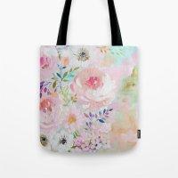 craftberrybush Tote Bags featuring Acrylic rose garden  by craftberrybush