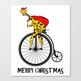 Giraffe on a bike Santa Claus Canvas Print