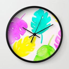 Colorful Monstera Watercolor Leaves Wall Clock