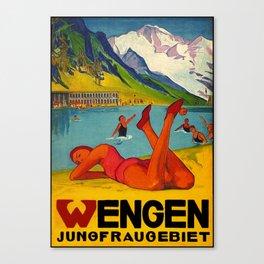 Wengen Jungfraugebiet Travel Poster Canvas Print