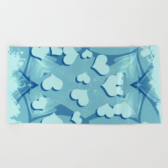Grunge floating hearts in blue Beach Towel
