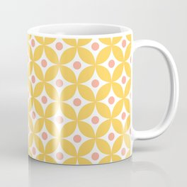 Yellow, coral and white elegant tile ornament pattern Coffee Mug