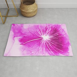 Dandelion seeds blowing away hand painted  purple color tones illustration Rug