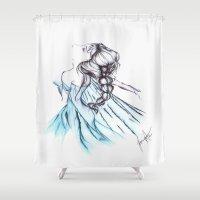 frozen elsa Shower Curtains featuring Frozen Elsa by Jeanette Perlie