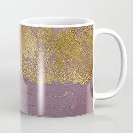 Romantic Bridal lace - Gold floral elegant lace on old purple paper Coffee Mug
