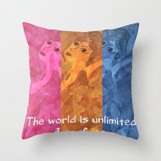 The world is umlimited. I am free... Throw Pillow