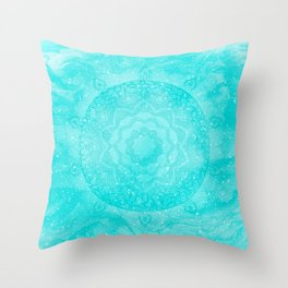 FLORAL MANDALA TURQUOISE Throw Pillow