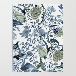 Blue vintage chinoiserie flora Poster