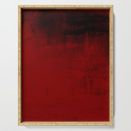 Abstract art in deep red Serving Tray