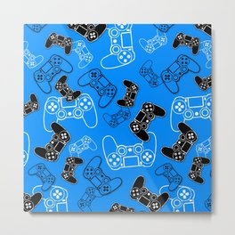 Video Games Blue Metal Print
