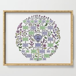 Illustrated Family Tree, colored lilac, Genealogical Illustration of Ancestrors and Descendants Serving Tray