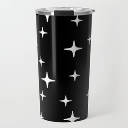 Mid Century Modern Star Pattern 443 Black and White Travel Mug