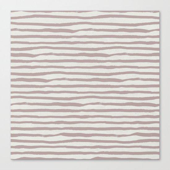 Simply Shibori Stripes Clay Pink on Lunar Gray Canvas Print