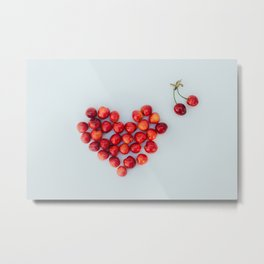 Heart of the ripe red juicy cherries on the white background. The view from the top. Metal Print