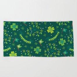 St Patrick's Day Lucky Shamrock Party Beach Towel