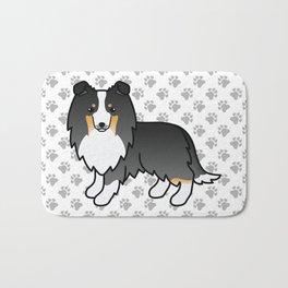Tricolor Shetland Sheepdog Dog Cartoon Illustration Bath Mat