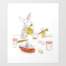 Grating Carrots Art Print