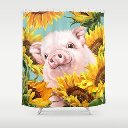 Baby Pig with Sunflowers in Blue Shower Curtain