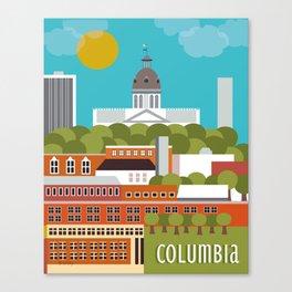 Columbia, South Carolina - Skyline Illustration by Loose Petals Canvas Print