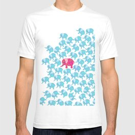 Vintage pink teal floral cute elephant pattern T-shirt