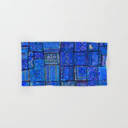 V2 Calm Blue Traditional Moroccan Cloth Texture. Hand & Bath Towel