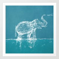 yetiland Art Prints featuring Elephant by Paula Belle Flores