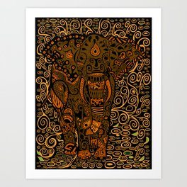 Aztec Elephant With Floral Pattern Art Print
