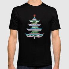 Christmas tree stripe Black Mens Fitted Tee MEDIUM