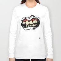 teeth Long Sleeve T-shirts featuring TEETH! by Helena Bowie Banshees