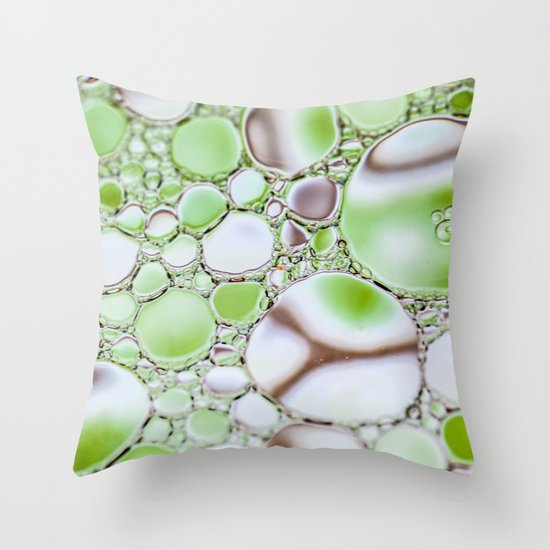 Bubbling Green Throw Pillow