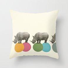 Rambling Rhinos Throw Pillow