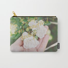 Motivation card on background of two white roses in female hand Carry-All Pouch