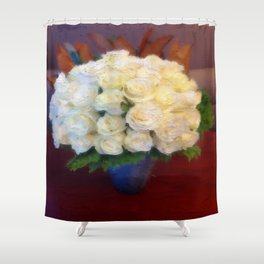 White roses in a blue vase  Shower Curtain