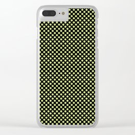 Black and Daiquiri Green Polka Dots Clear iPhone Case