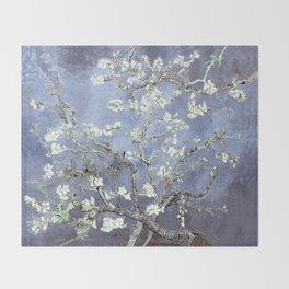 Vincent Van Gogh Almond Blossoms : Steel Blue & Gray Throw Blanket