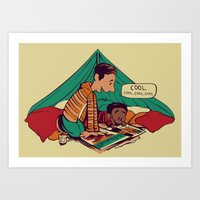 caleb troy Art Prints featuring Troy & Abed's Dope Adventures by Megan Lara