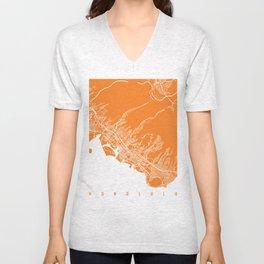 Honolulu map orange Unisex V-Neck