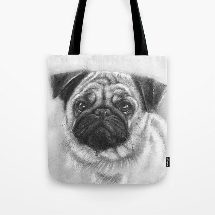 Cute Pug Dog Animal Pugs Portrait Tote Bag