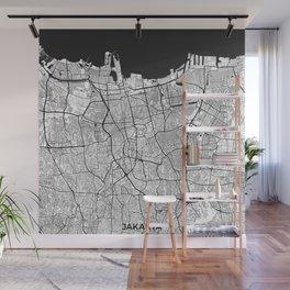 Jakarta Map Gray Wall Mural