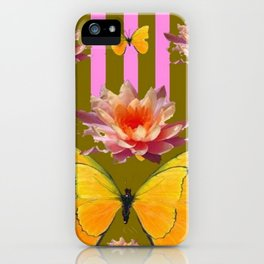 PINK WATER LILIES STRIPED BUTTERFLY PATTERNED ART iPhone Case